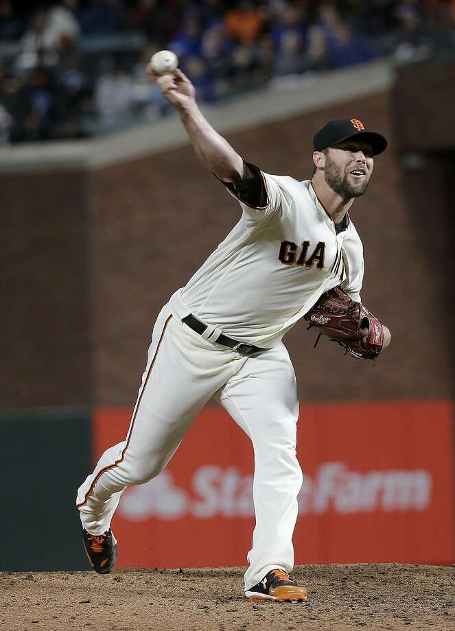 San Francisco Giants pitcher Hunter Strickland throws against the Kansas City Royals during a baseball game in San Francisco, Tuesday, June 13, 2017. (AP Photo/Jeff Chiu) Photo: Jeff Chiu, Associated Press