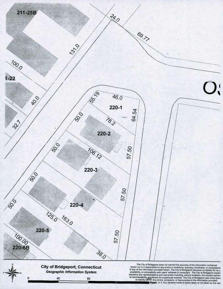 CITY OF BRIDGEPORT  The city of Bridgeport's map of the intersection of Monroe, Hope and Osborne streets. The Cortes home is on lot No. 220-2, and the city sold them lot No. 220-1 last year for $200. A portion of the lot was paved over by the city years ago, but the dimensions of the lot were not changed, meaning that the couple actually owns – and was being taxed on -- part of the street. Photo: Contributed Photo / Connecticut Post Contributed