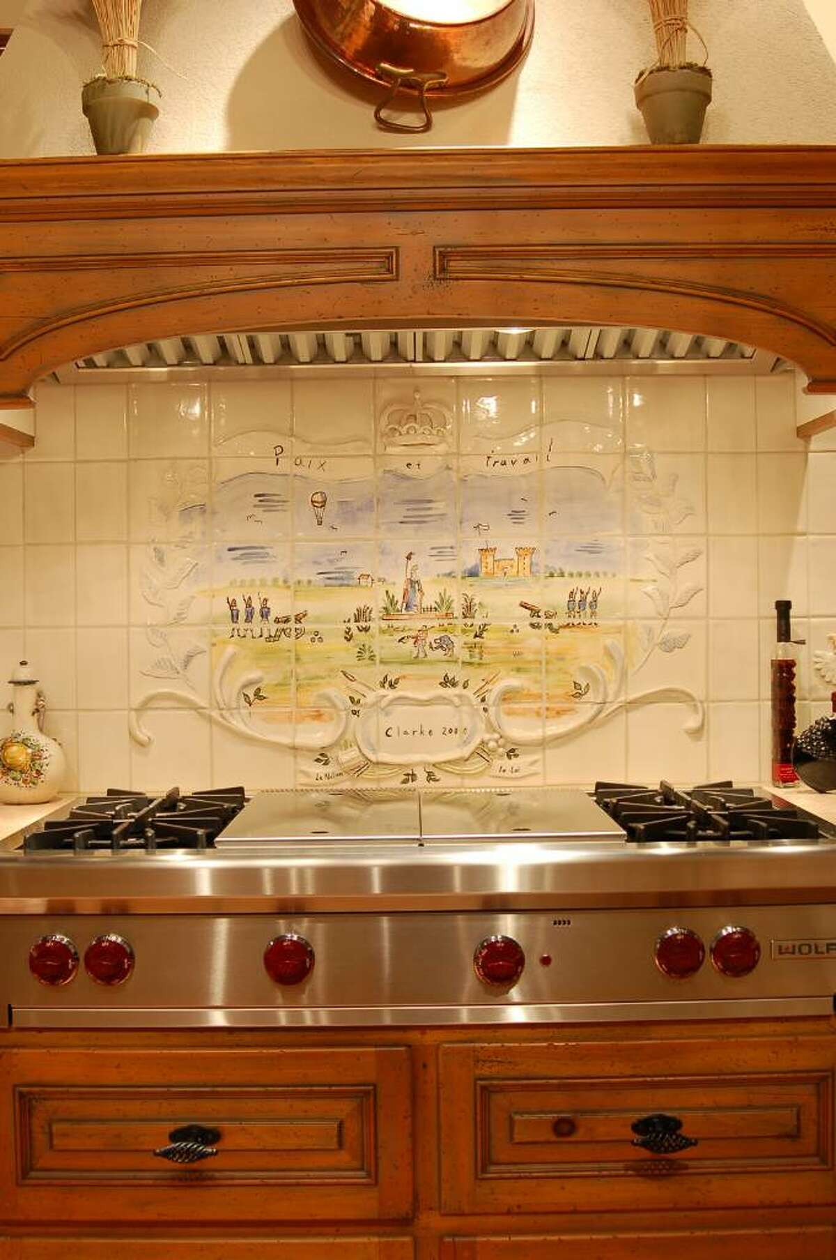 A Wirth-Salander tile mural in the Clarke Corp. luxury kitchen appliance showroom in South Norwalk.