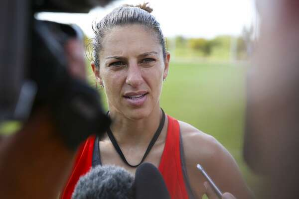 Houston Dash's Carli Lloyd speaks to the press after her first team practice this year at Houston Sports Park Thursday, June 15, 2017, in Houston. ( Yi-Chin Lee / Houston Chronicle )