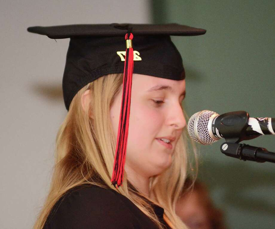 Emily Webb gives a speech during The Alternative Center for Excellence, ACE, graduation that took place at Western Connecticut State University on Thursday June 15, 2017. Photo: Lisa Weir, For Hearst Connecticut Media / The News-Times Freelance