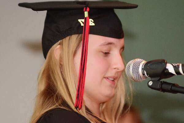 Emily Webb gives a speech during The Alternative Center for Excellence, ACE, graduation that took place at Western Connecticut State University on Thursday June 15, 2017.