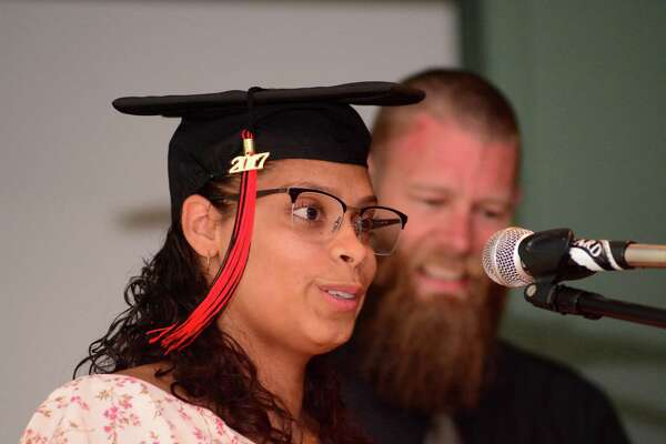 Lesliann Rodriguez gives a speech during The Alternative Center for Excellence, ACE, graduation that took place at Western Connecticut State University on Thursday June 15, 2017.