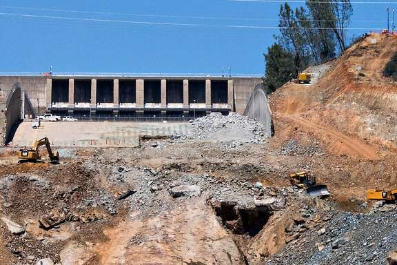 Reconstruction continues on the main spillway at the Oroville Dam in Oroville, Calif. Tuesday, June 13, 2017.