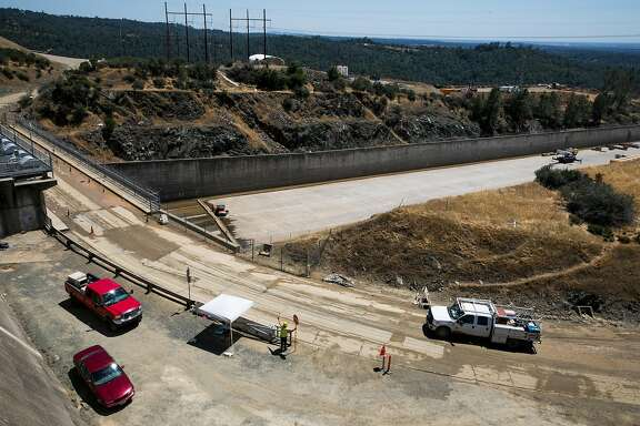 Reconstruction continues on the upper chute of the main spillway at the Oroville Dam in Oroville, Calif.