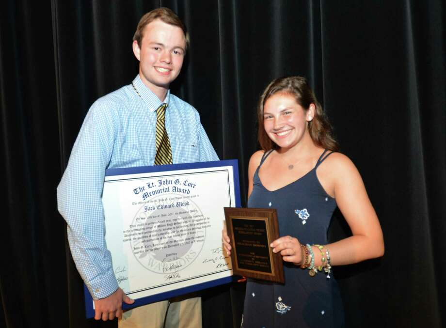 Jack Wood the recipient of the Lt. John G. Corr Memorial award and Meaghan Downey with the Melissa Nickel Award during the Wilton High School Sr. Athletics Awards night on Thursday June 15, 2017 in Wilton Conn. Photo: Alex Von Kleydorff / Hearst Connecticut Media / Norwalk Hour