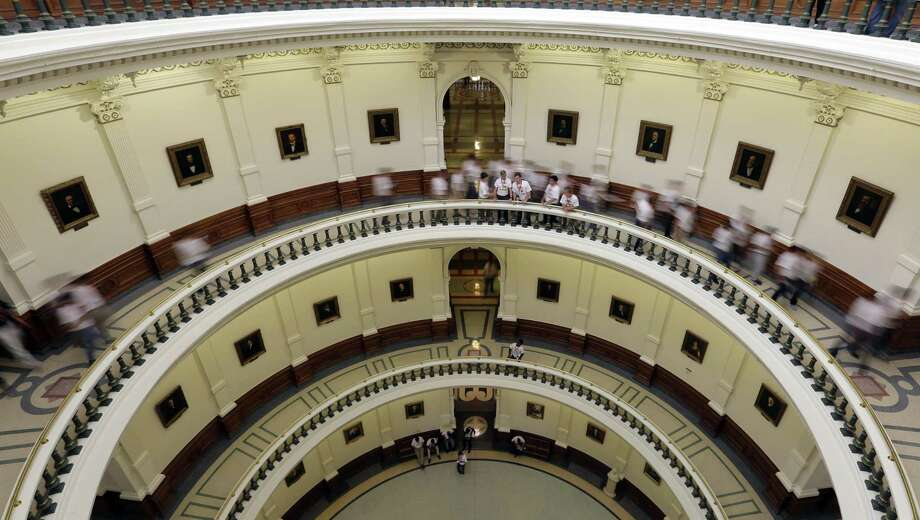 """Visitors move though the rotunda at the Texas Capitol, Thursday, June 15, 2017, in Austin, Texas. With a special session set to begin July 18th, Texas Gov. Greg Abbott is reviving a so-called """"bathroom bill"""" targeting transgender people after the last try ended with Republican lawmakers angry and deadlocked. (AP Photo/Eric Gay) Photo: Eric Gay, STF / Associated Press / Copyright 2017 The Associated Press. All rights reserved."""