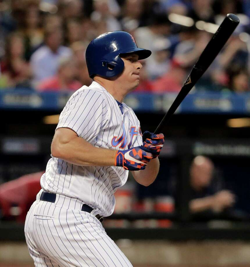 New York Mets' Jay Bruce (19) drives in a run with a double to right field against the Washington Nationals during the fourth inning of a baseball game, Thursday, June 15, 2017, in New York. Yoenis Cespedes scored on the play. (AP Photo/Julie Jacobson) ORG XMIT: NYM110 Photo: Julie Jacobson / Copyright 2017 The Associated Press. All rights reserved.