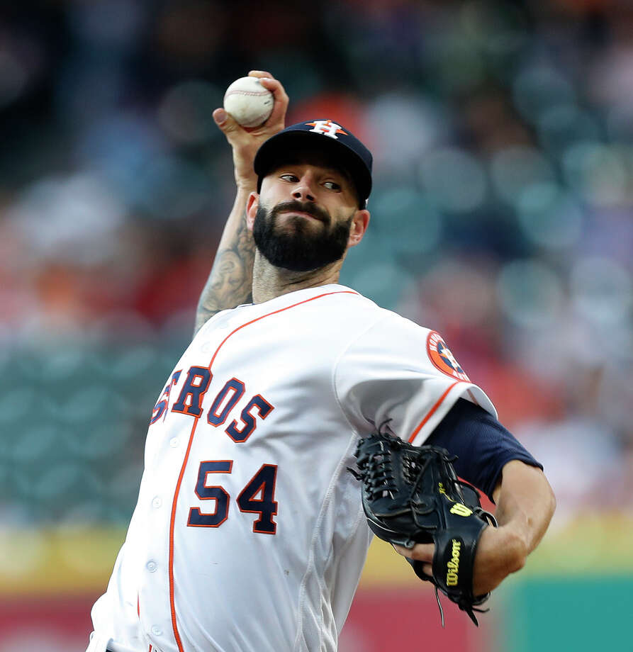 After what amounted to a momentary demotion to the bullpen, Mike Fiers has won three consecutive starts. Photo: Karen Warren, Staff Photographer / 2017 Houston Chronicle