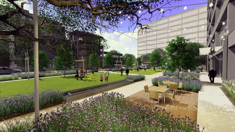 The space between Galleria I and Galleria II will be transformed into a 1-acre grand lawn with botanical gardens. Photo: Lincoln Property Co.