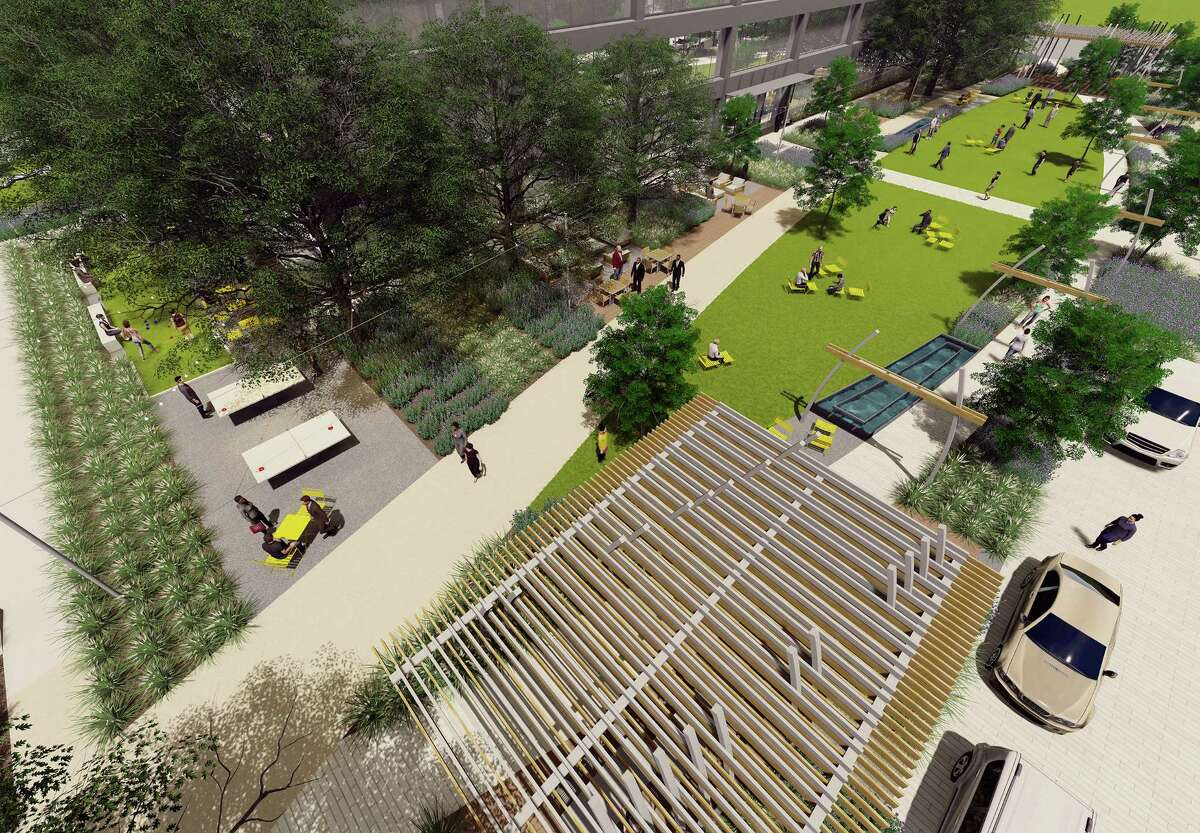 The green space will connect with new retail spaces on the first floors of the office buildings, which recently gained new conference facilities and a fitness center.