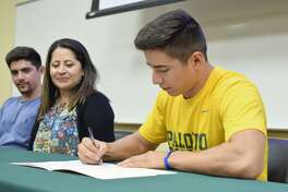 Laredo Community College's Nick Galaviz signed his national letter of intent to continue his baseball career at St. Mary's in San Antonio.