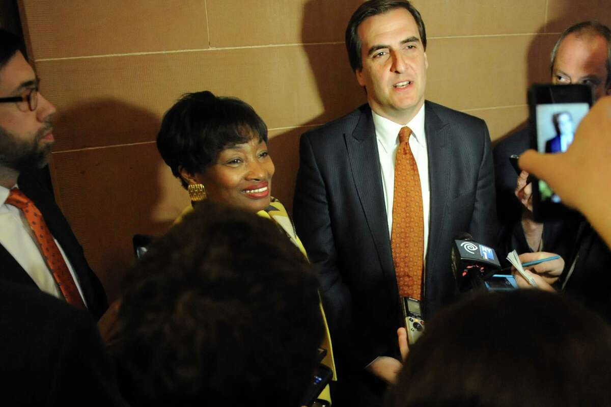 Sen. Michael Gianaris, center, and Sen. Andrea Stewart-Cousins, to his left, talk with the media following the the mass exit of Senate Democrats during session on Wednesday, May 6, 2015, at the Capitol in Albany, N.Y. (Cindy Schultz / Times Union)