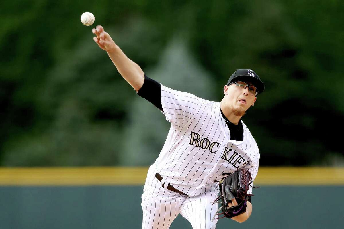 Starting pitcher Jeff Hoffman #34 of the Coloarado Rockies throws in the first inning against the San Francisco Giants at Coors Field on June 15, 2017 in Denver, Colorado. (Photo by Matthew Stockman/Getty Images)