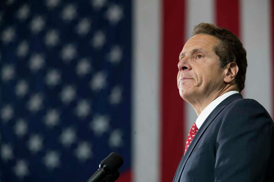 CORRECTS MONTH TO JUNE, NOT JAN. - New York Gov. Andrew Cuomo speaks at a rally, Tuesday, June 6, 2017, in New York. Cuomo and House Minority Leader Nancy Pelosi, D-Calif., are hoping to increase the number of congressional seats held by the Democratic Party. (AP Photo/Mary Altaffer) ORG XMIT: NYMA101 Photo: Mary Altaffer / Copyright 2017 The Associated Press. All rights reserved.