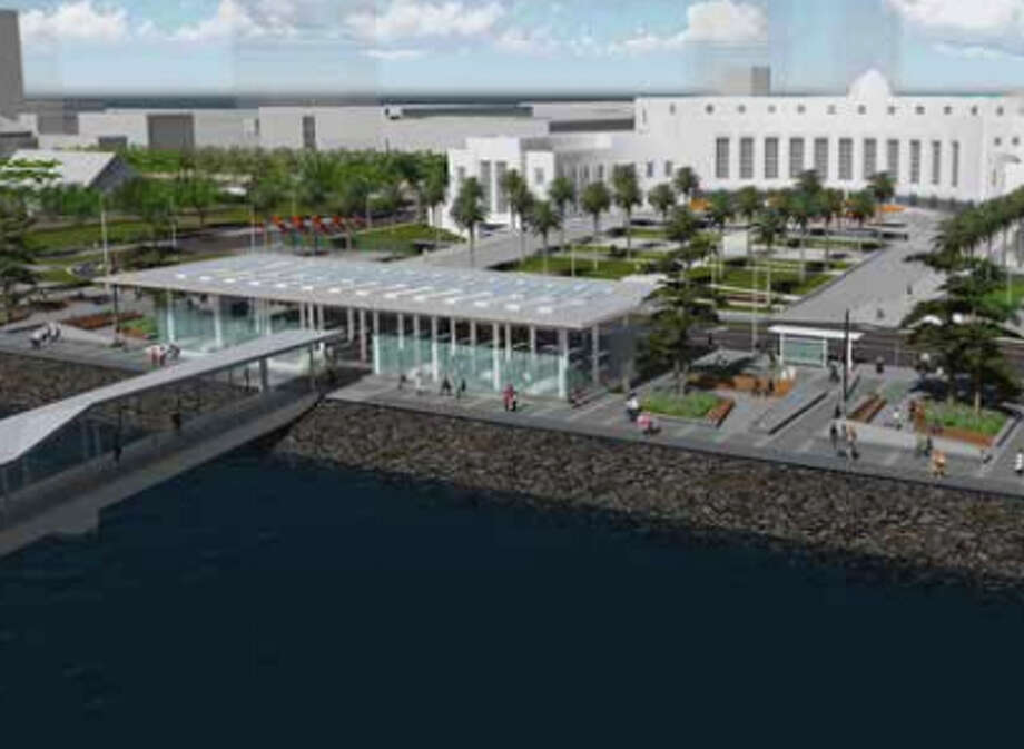 A view of the waterfront plaza planned for Treasure Island. Photo: TICD/AECOM/DE+