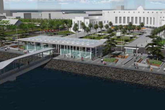 A view of the waterfront plaza planned for Treasure Island.