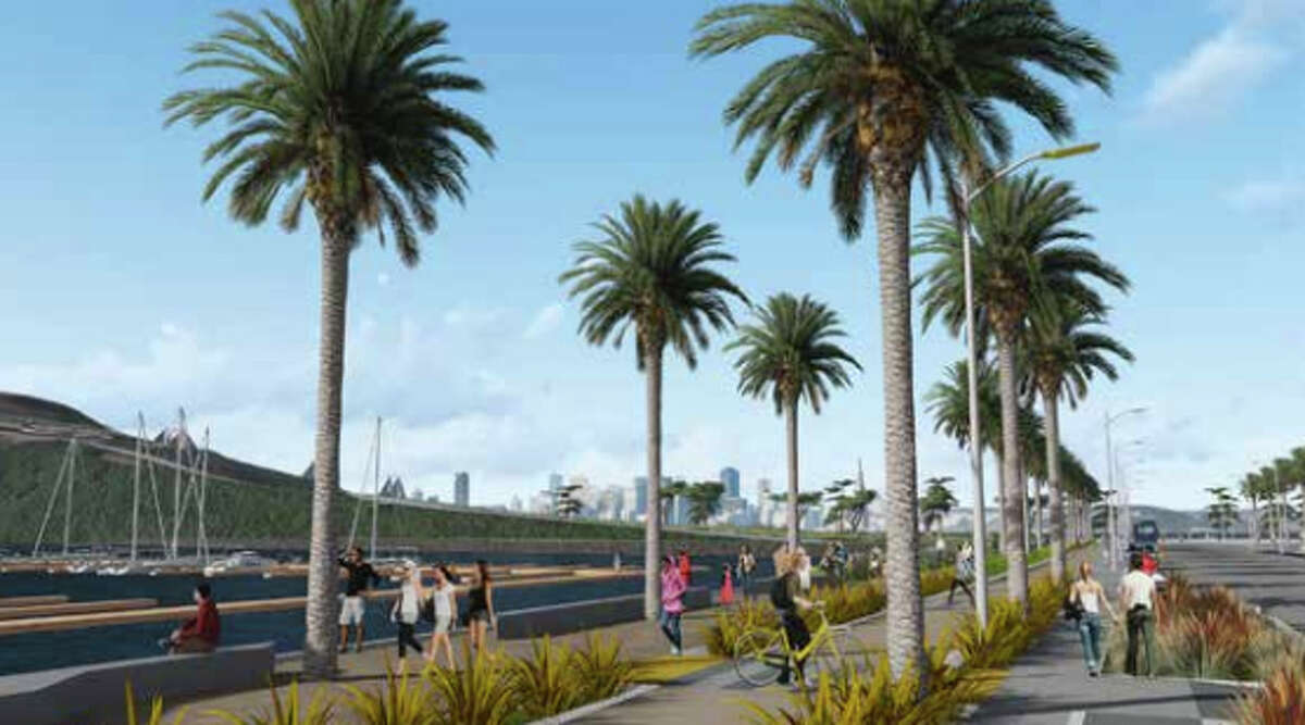 A view of the planned Clipper Cove Promenade, part of a major overhaul of Treasure Island.