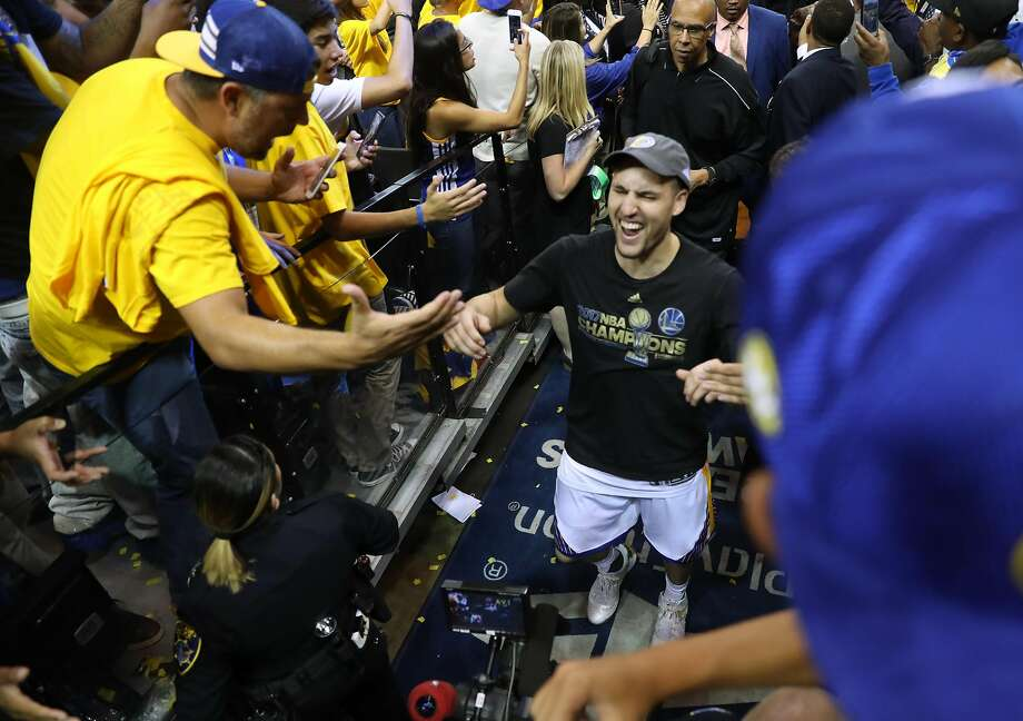 Golden State Warriors' Klay Thompson leaves the court after Warriors'129-120 win over  Cleveland Cavaliers in Game 5 of NBA Finals at Oracle Arena in Oakland, Calif., on Monday, June 12, 2017. Photo: Scott Strazzante, The Chronicle