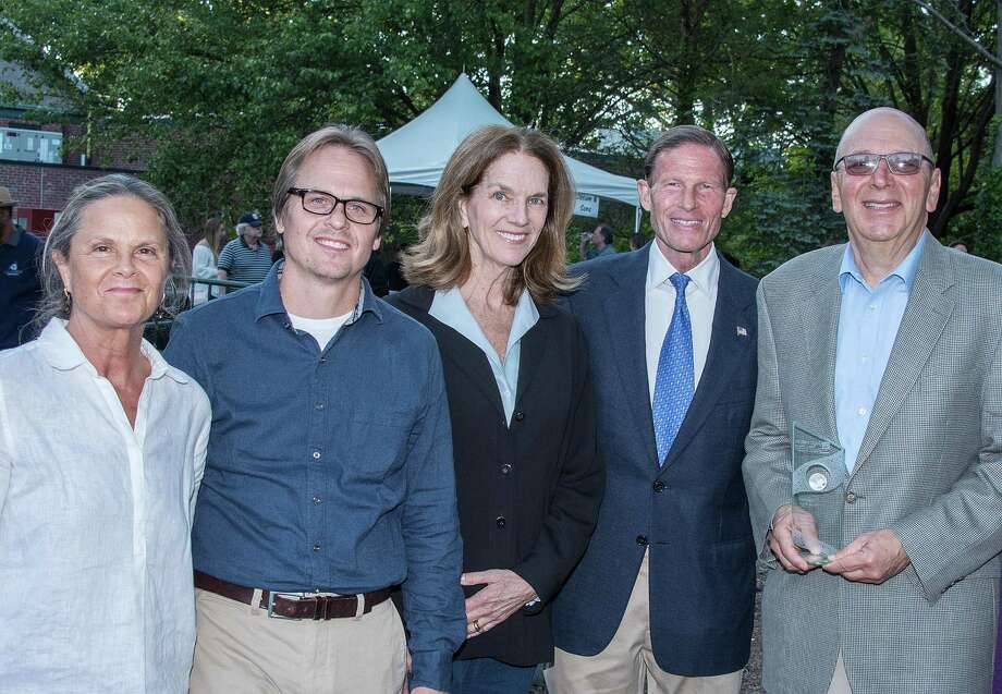 The Aspetuck Land Trust won the 2017 Aquarion Environmental Champion Award in the non-profit organization category. From left: Jacquie Littlejohn of Weston, David Brant of Fairfield, Nancy Moon of Fairfield, U.S. Sen. Richard Blumenthal and Don Hyman of Fairfield. Photo: Contributed Photo / Copyright Roger Salls Photography 2017
