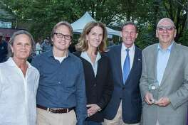 The Aspetuck Land Trust won the 2017 Aquarion Environmental Champion Award in the non-profit organization category. From left: Jacquie Littlejohn of Weston, David Brant of Fairfield, Nancy Moon of Fairfield, U.S. Sen. Richard Blumenthal and Don Hyman of Fairfield.