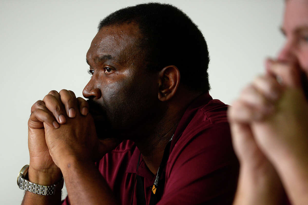 Silsbee basketball coach Joe Sigler listens during a district 22-4A executive committee meeting Monday to discuss discipline after a fight between SIlsbee and Little Cypress-Mauriceville boys basketball teams. The committee ruled to make the game a forfeit for both teams. Photo taken Monday 2/13/17 Ryan Pelham/The Enterprise