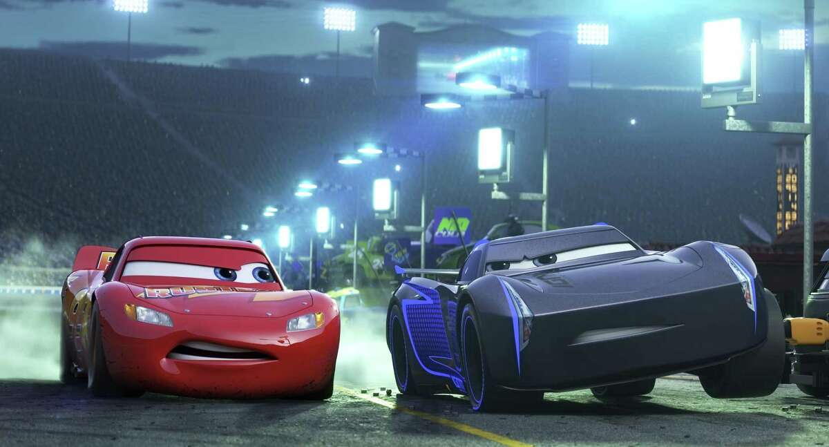 Lightning McQueen (left), is voiced by Owen Wilson, and Armie Hammer voices his younger rival, Jackson Storm, in