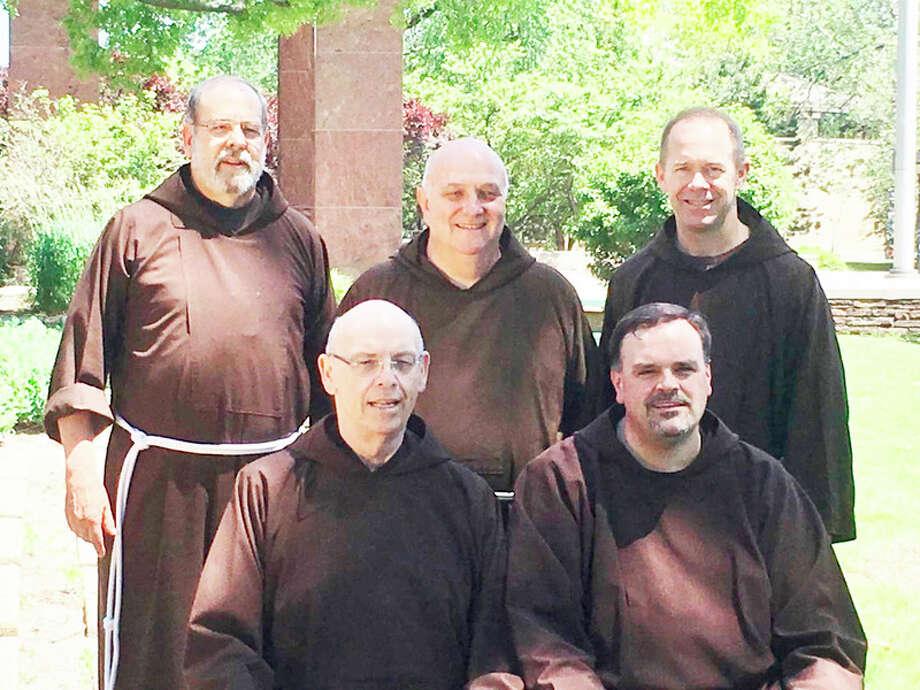 Photo provided First row, from left, Provincial Minister Michael Sullivan, Vicar Provincial Steven Kropp Back row: Capuchin Friars David Preuss, Daniel Fox, Jerome Johnson