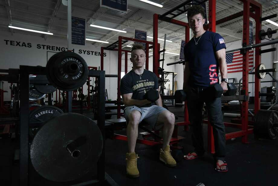 Area powerlifters Jorge Saldana (right) and Sawyer Yandell are heading to the IPF World Open Classic Powerlifting Championships in Minsk, Belarus as part of Team USA. Saldana and Yandell befriended one another in high school where both began their formal training into weightlifting. (Kin Man Hui/San Antonio Express-News) Photo: Kin Man Hui, Staff / San Antonio Express-News / ©2017 San Antonio Express-News
