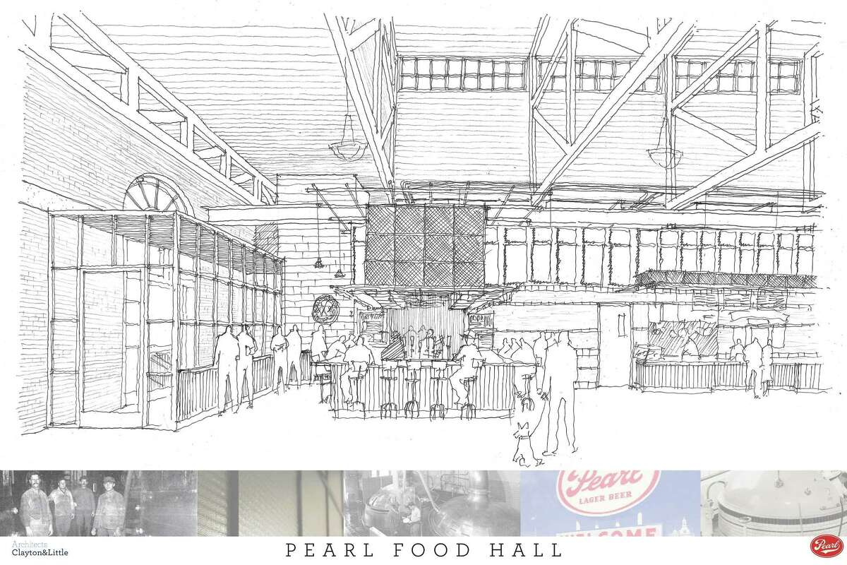 An architect's rendering of The Bottling Department, the new food hall coming to The Pearl in late July.