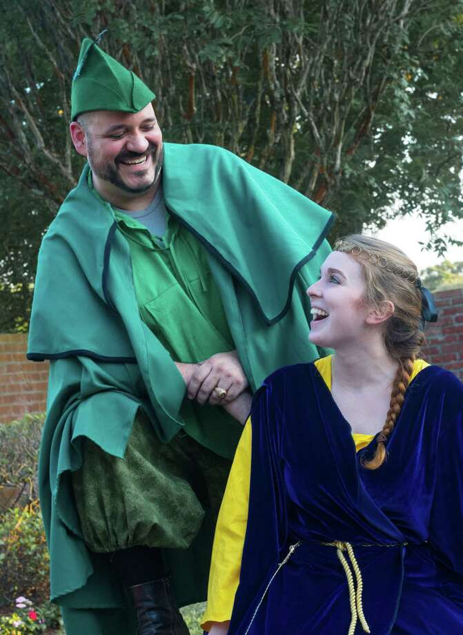 """Robin Hood (Randy Creager) and Maid Marian (Madison Cockrell) share a lighthearted moment in """"The Adventures of Robin Hood"""" at Company OnStage."""