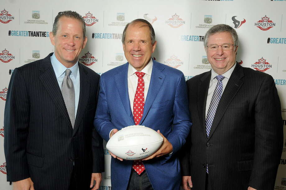 From left: Jamey Rootes, Ric Campo and Steve Maislin at an event celebrating the 78 local non-profits that received grants from the NFL Foundation and Touchdown Houston at NRG Stadium Thursday June 15, 2017. (Dave Rossman Photo) Photo: Dave Rossman, For The Chronicle / Dave Rossman