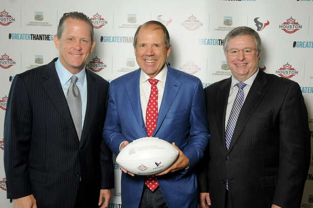 From left: Jamey Rootes, Ric Campo and Steve Maislin at an event celebrating the 78 local non-profits that received grants from the NFL Foundation and Touchdown Houston at NRG Stadium Thursday June 15, 2017. (Dave Rossman Photo)