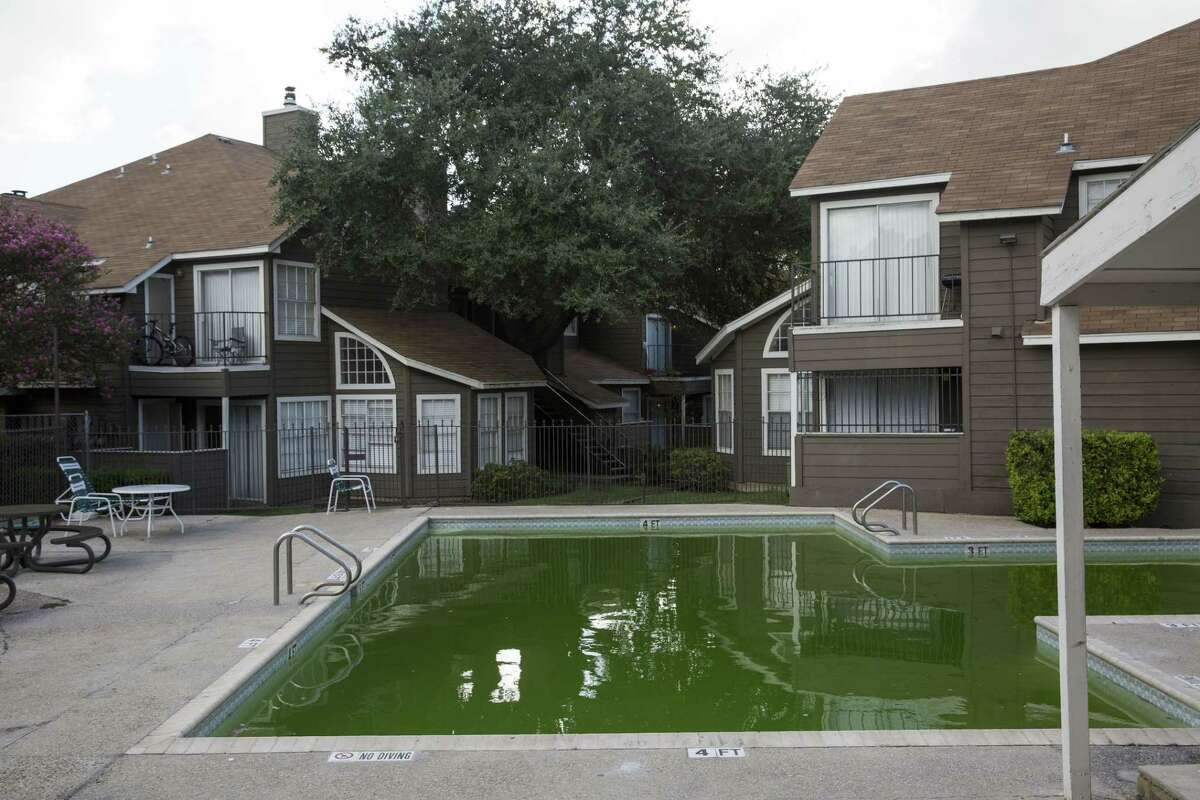 The pool at the Avistar on the Parkway apartment complex was green on a Monday afternoon in September.
