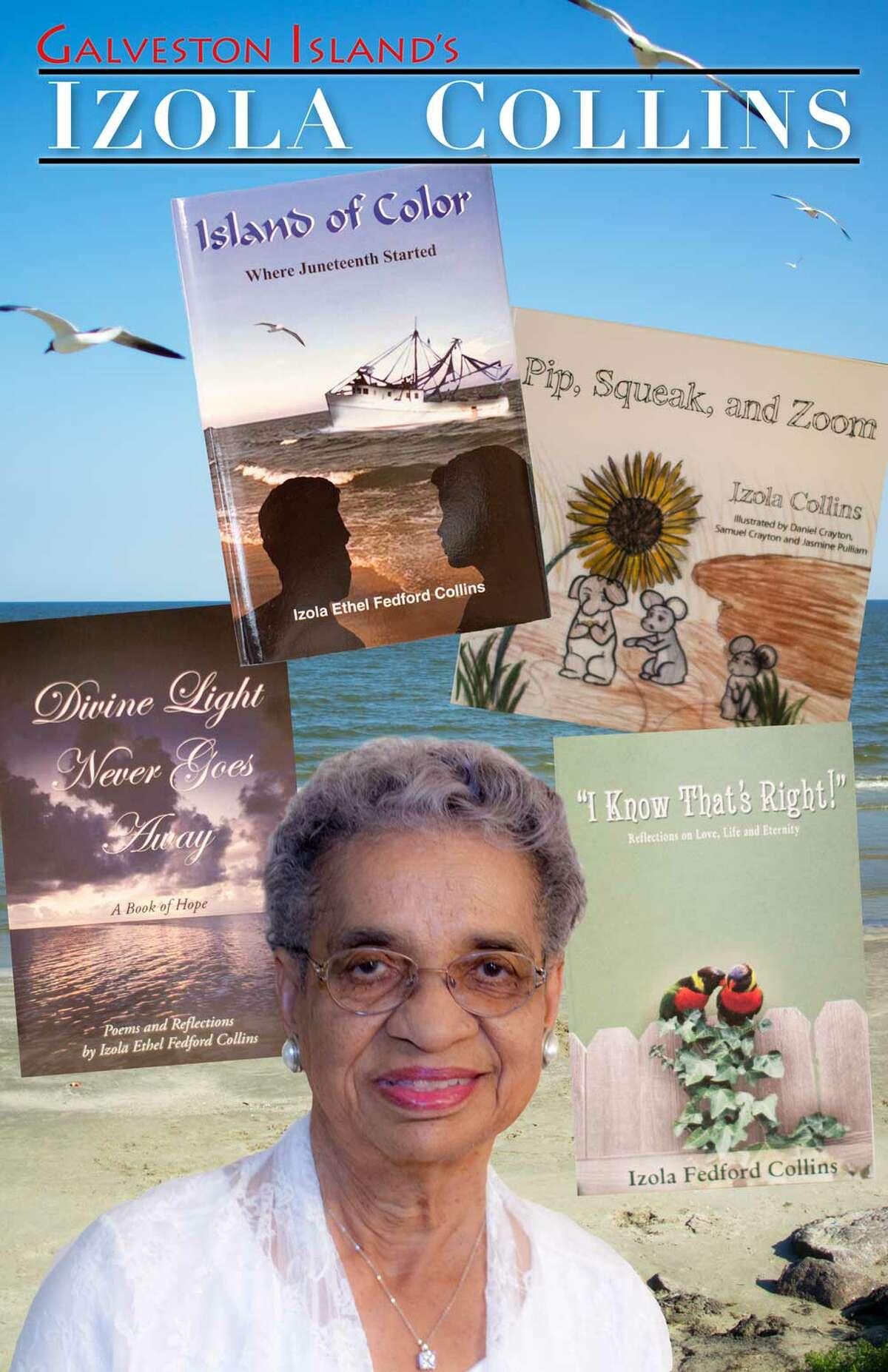 Izola Collins on the bookcover of