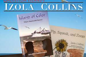 """Izola Collins on the bookcover of """"Island of Color: Where Juneteenth Started."""""""
