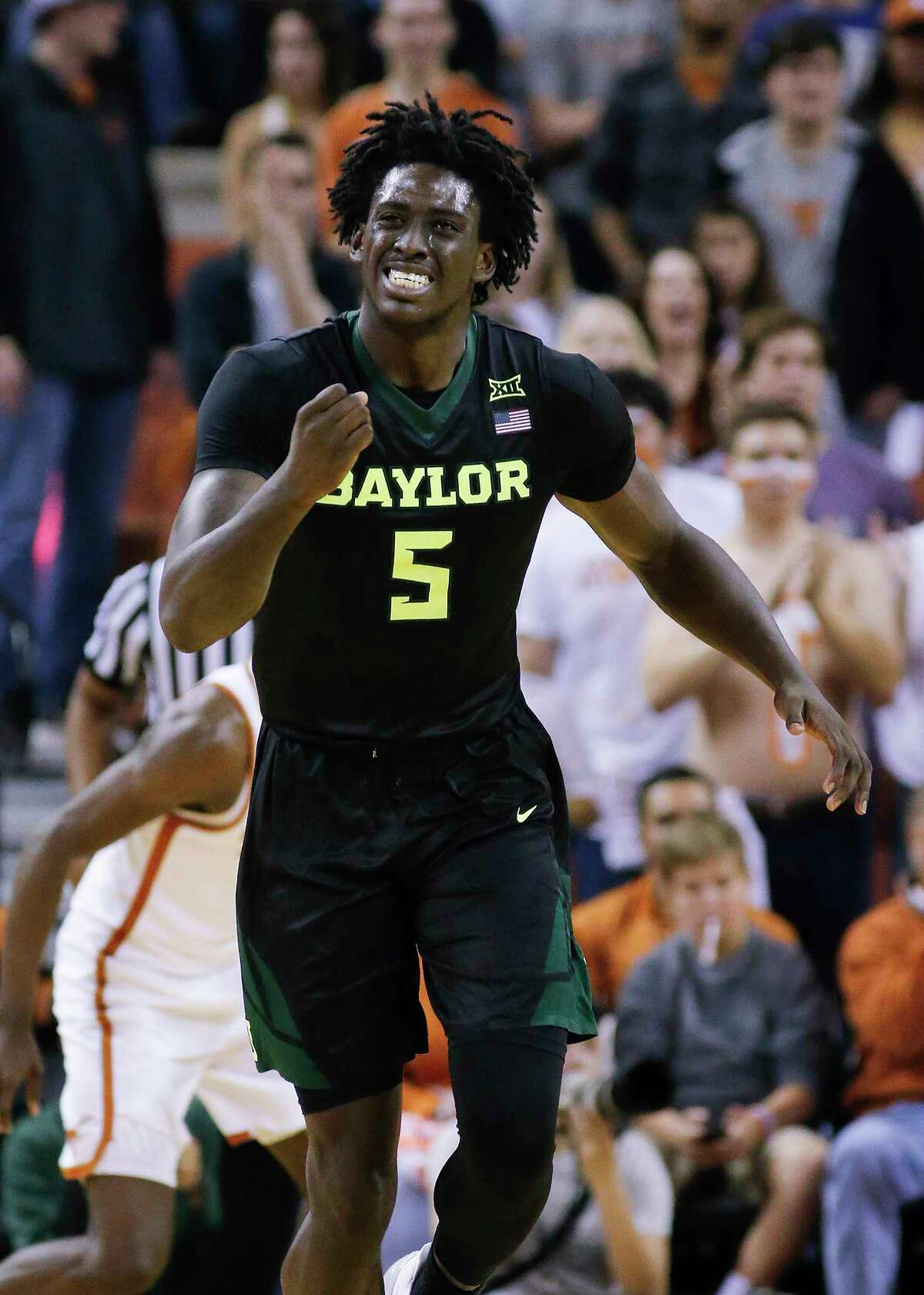 AUSTIN, TX - MARCH 4: Johnathan Motley #5 of the Baylor Bears reacts as his team plays the Texas Longhorns at the Frank Erwin Center on March 4, 2017 in Austin, Texas. (Photo by Chris Covatta/Getty Images)