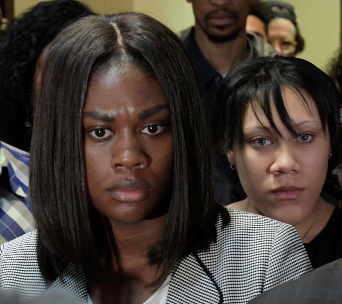Asha Burwell, left and Ariel Agudio leave the courtroom after their sentencing Friday June 16, 2017 at the Albany County Judicial Center in Albany, N.Y. (Skip Dickstein/Times Union)