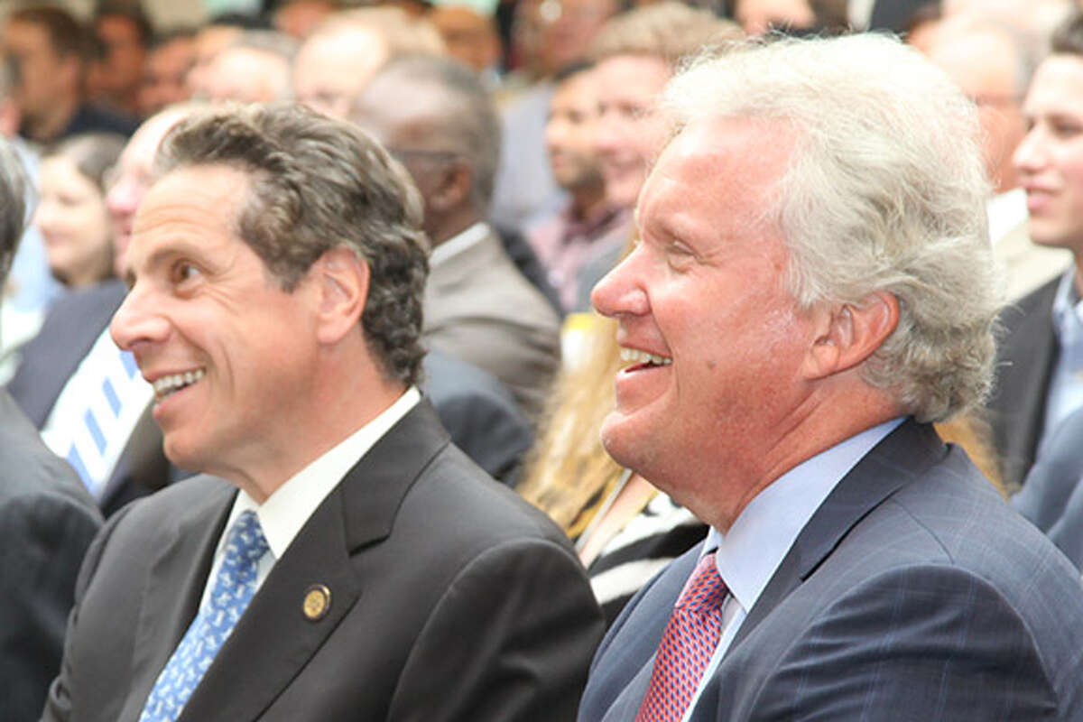 GE's CEO Jeff Immelt, right, with Gov. Andrew Cuomo. Immelt is visiting GE's SChenectady campus on Monday to talk about what is expected to be a repurposing of the company's battery plant.