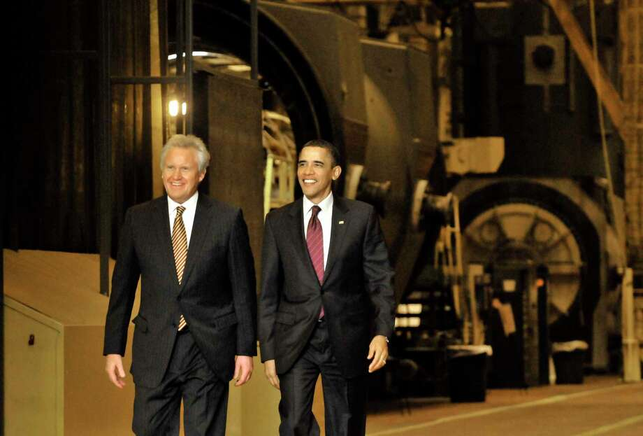 "US President Barack Obama  arrives with GE CEO Jeff Immelt to speak to a crowd gathered at General Electric in Schenectady Jan. 21, 2011. Obama said he wants to open up Chinese markets to U.S. companies to have ""two-way trade, not just one-way trade."" ( Michael P. Farrell/Times Union ) Photo: Michael P. Farrell / 00011832B"