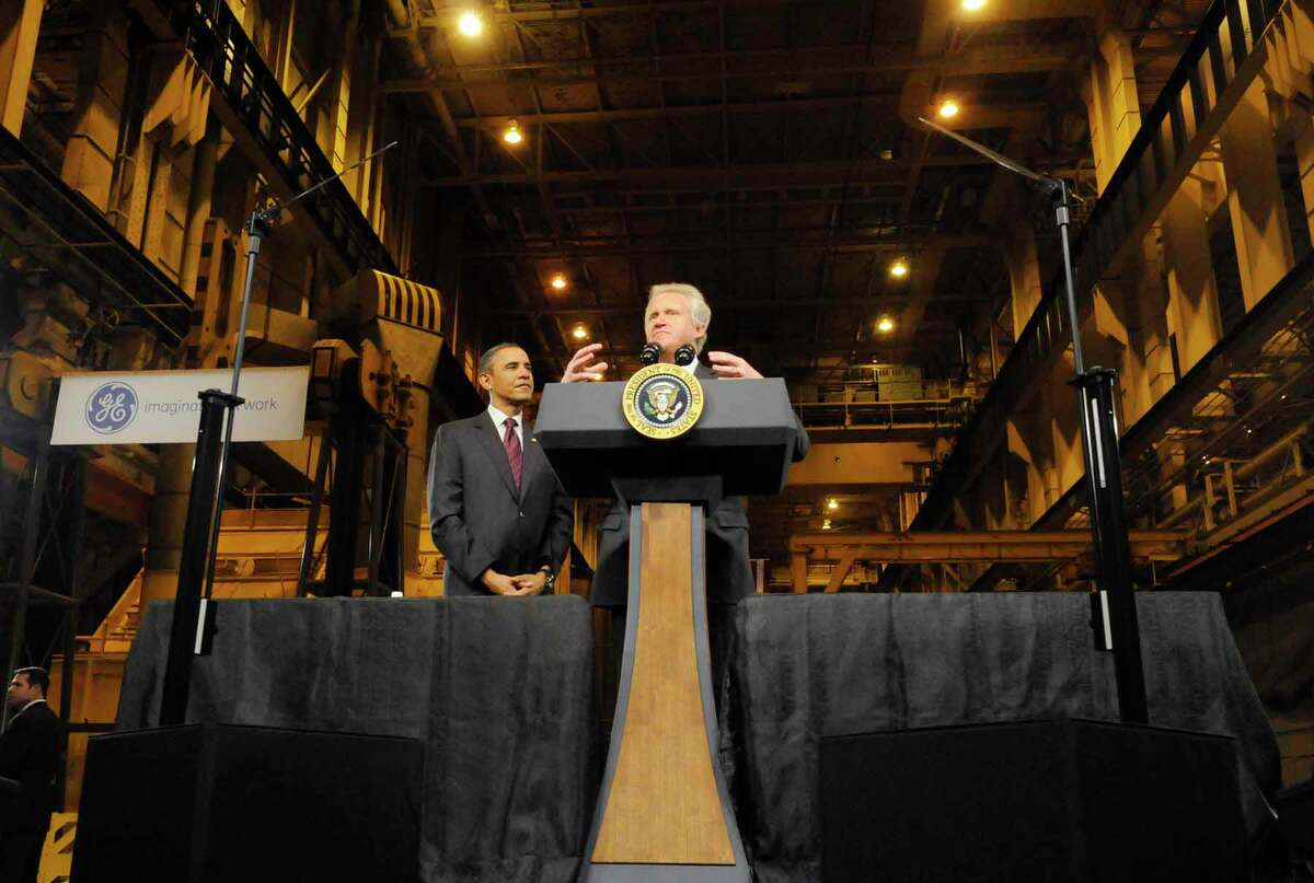 """US President Barack Obama is introduced by GE CEO Jeff Immelt before speaking to a crowd gathered at General Electric in Schenectady Jan. 21, 2011. Obama said he wants to open up Chinese markets to U.S. companies to have """"two-way trade, not just one-way trade."""" ( Michael P. Farrell/Times Union )"""
