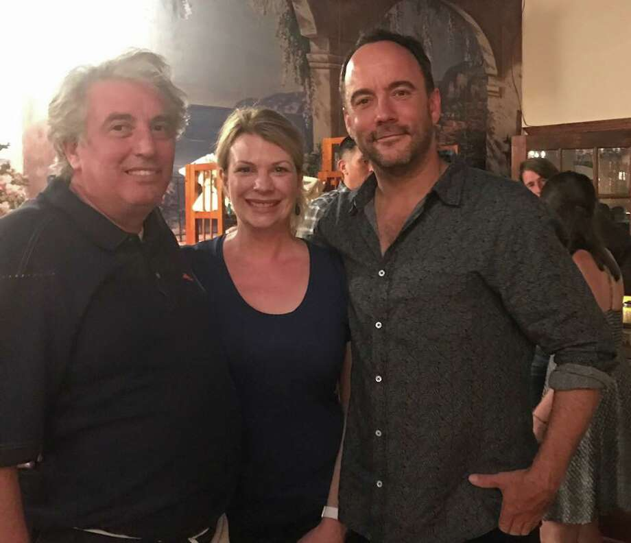 Giuseppe Grisio and Lauren Grisio with Dave Matthews at their Saratoga Springs restaurant, Mama Mia's, on Thursday, June 15, 2017. (Courtesy of Mama Mia's) Photo: Courtesy Of Mama Mia's