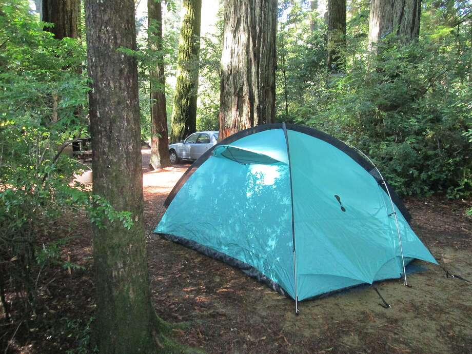 Drive-in campsites at Butano State Park near Pescadero in San Mateo County are nestled in redwoods.  Photo: Tom Stienstra / The Chronicle