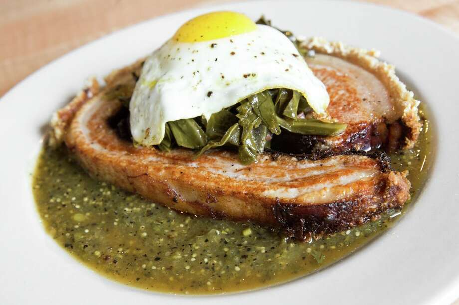 From the brunch menu at Cane Rosso (Montrose): porchetta topped with greens and a fried egg. Photo: Jeff Amador/Cane Rosso