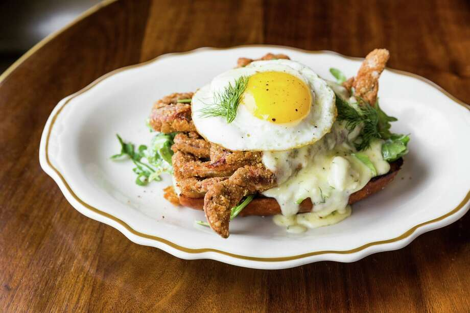 Soft-shell crab and an egg, from State of Grace's updated Sunday brunch menu.>>Click to see other Houston brunch options. Photo: Courtesy