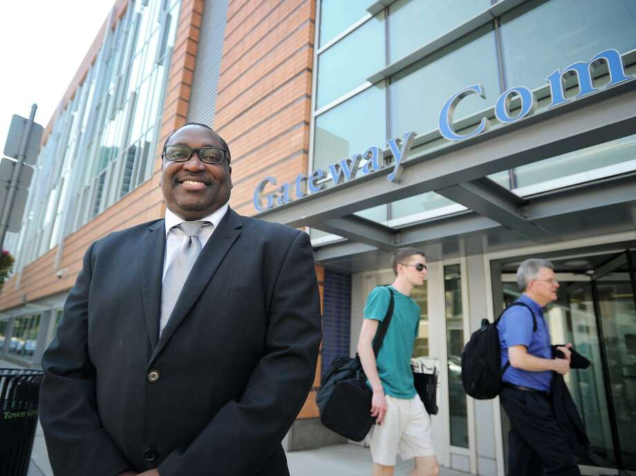 Paul Broadie stands outside Gateway Community College on Church Street in New Haven, Conn. on Monday June 12, 2017. Broadie is now presiding over the New Haven school along with his existing role as president of Housatonic Community College in Bridgeport. Photo: Brian A. Pounds / Hearst Connecticut Media / Connecticut Post