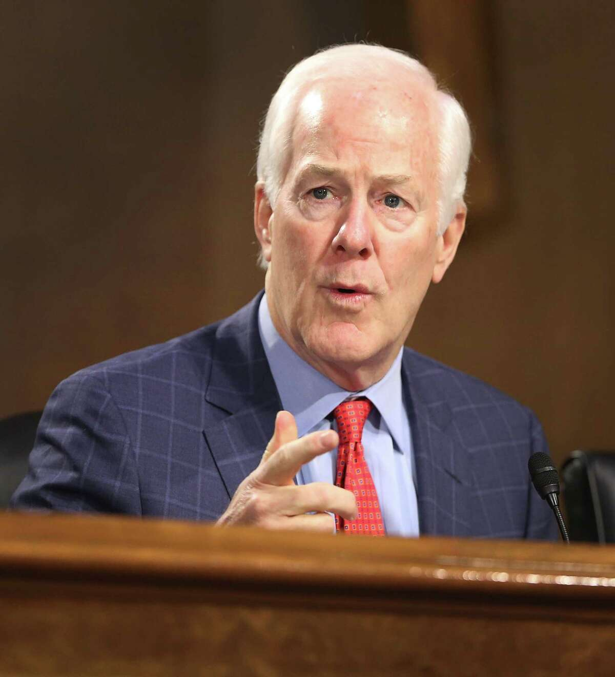 WASHINGTON, DC - JANUARY 12: Sen. John Cornyn (R-TX) asks a question during the confirmation hearing for U.S. President-elect Donald Trump's nominee for the director of the CIA, Rep.éŠMike Pompeo (R-KS) before the Senate (Select) Intelligence Committee on January 12, 2017 in Washington, DC. Mr. Pompeo is a former Army officer who graduated first in his class from West Point. (Photo by Joe Raedle/Getty Images)