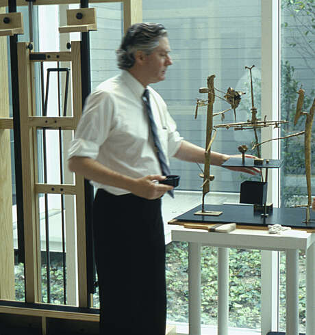 An undated photo of Walter Hopps in the Menil Collection's conservation lab. Photographer unknown. Photo: Menil Collection Archives