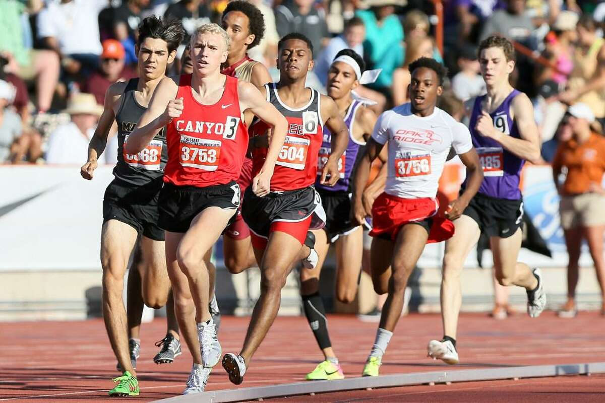 New Braunfels Canyon's Sam Worley (3) leads a pack of runners including Lee's Brandon Falkquay (6) after the first lap of the 6A boys 800 meter run during the UIL state track and field meet at Mike Myers Stadium in Austin on Saturday, May 13, 2017. Worley won the event with a time of 1:48.25.