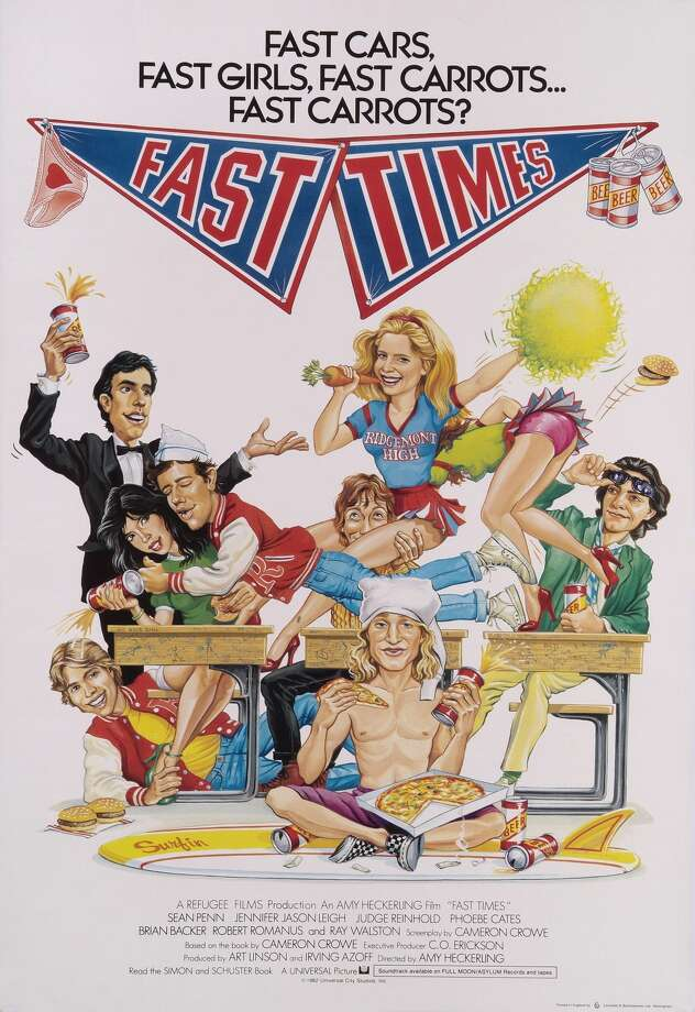 An original poster for Amy Heckerling's 1982 comedy 'Fast Times at Ridgemont High' starring Sean Penn, Phoebe Cates, and Judge Reinhold.  Photo: Movie Poster Image Art/Getty Images